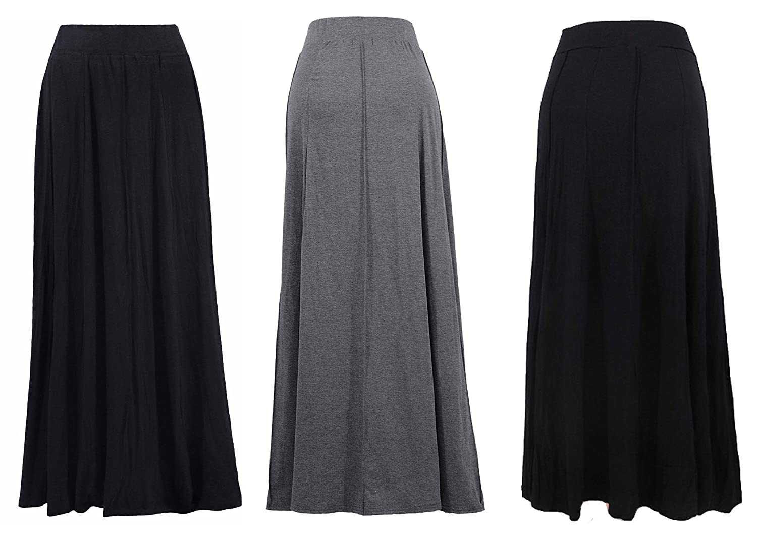 Abielmo Women Ladies Maxi Skirt Fully Lined Pull on Elasticated Waist 39-42 INCHES Long Ankle Length Size 10-24 justfound4u