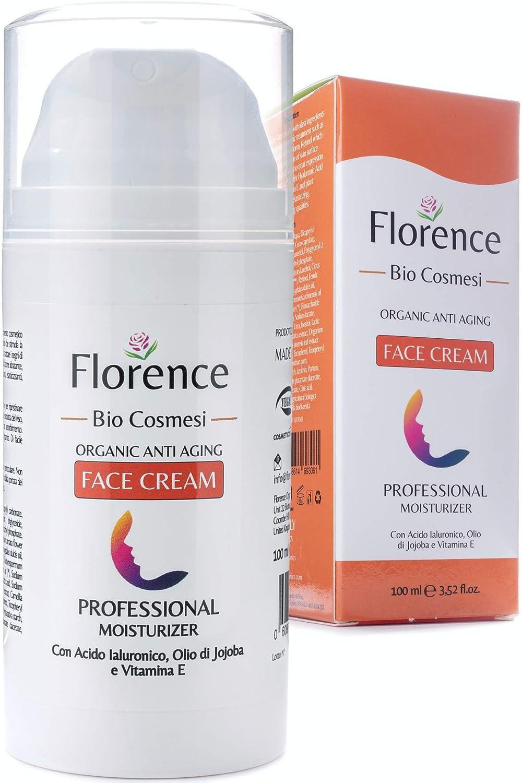 Grande 100ml. Bio Crema Hidratante facial con Ácido Hialurónico, Retinol y Vitamin C. 20+Ingredientes Orgánicos Antiedad y Antiarrugas para la cara/Contorno de Ojos. Cremas de Dia/Noche y Mujer/Hombre
