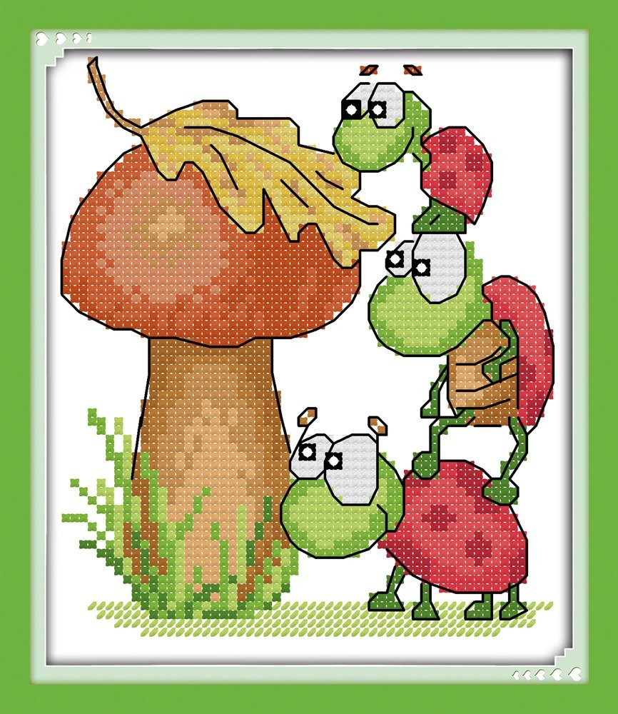 Good Value Cross Stitch Kits Beginners Kids Advanced -Mushroom And The Tortoises 11 CT 8'X9', DIY Handmade Needlework Set Cross-Stitching Accurate Stamped Patterns Embroidery Home Decoration Ulink