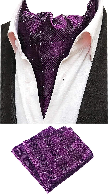 Mens 4PCS Wedding Flowers Cravat Ascot Tie Neckties Pocket Square Warm Set of 4