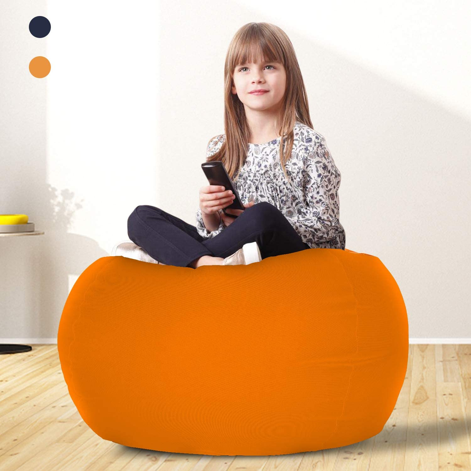 """Goodking Stuffed Animal Storage Bean Bag Chair Cover for Kids and Adults- Zipper Beanbag for Organizing Children Plush Toys- 35"""" Large Premium Canvas - Orange"""