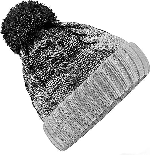 cb44a3a08939d3 Neverless Strick-Mütze Herren Grobstrick Pudel-Mütze zweifarbig Ombré  Bommel-Mütze Winter-Mütze Lavendel Unisize: Amazon.de: Bekleidung