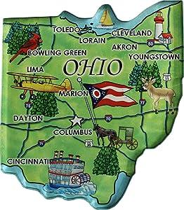 Flagline Ohio - Acrylic State Map Refrigerator Magnet