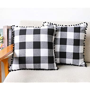 4TH Emotion Set of 2 Farmhouse Buffalo Check Plaid Throw Pillow Covers with Pompoms Cushion Case Cotton Polyester for Sofa Black and White, 18 x 18 Inches