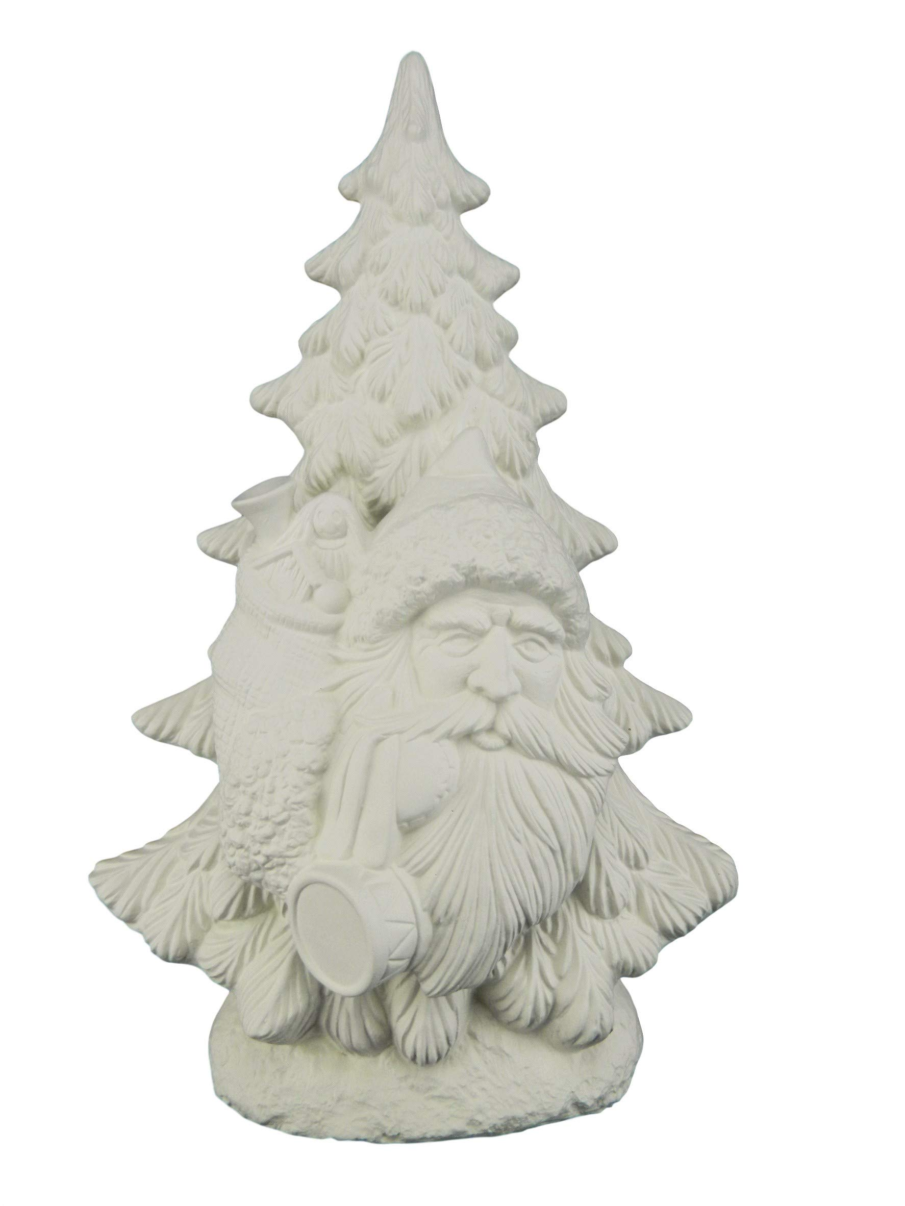 Mantle Christmas Tree, 15 Inch - Ready to Paint Ceramic Bisque (w Old World Santa Insert) by Ceramics In Montana