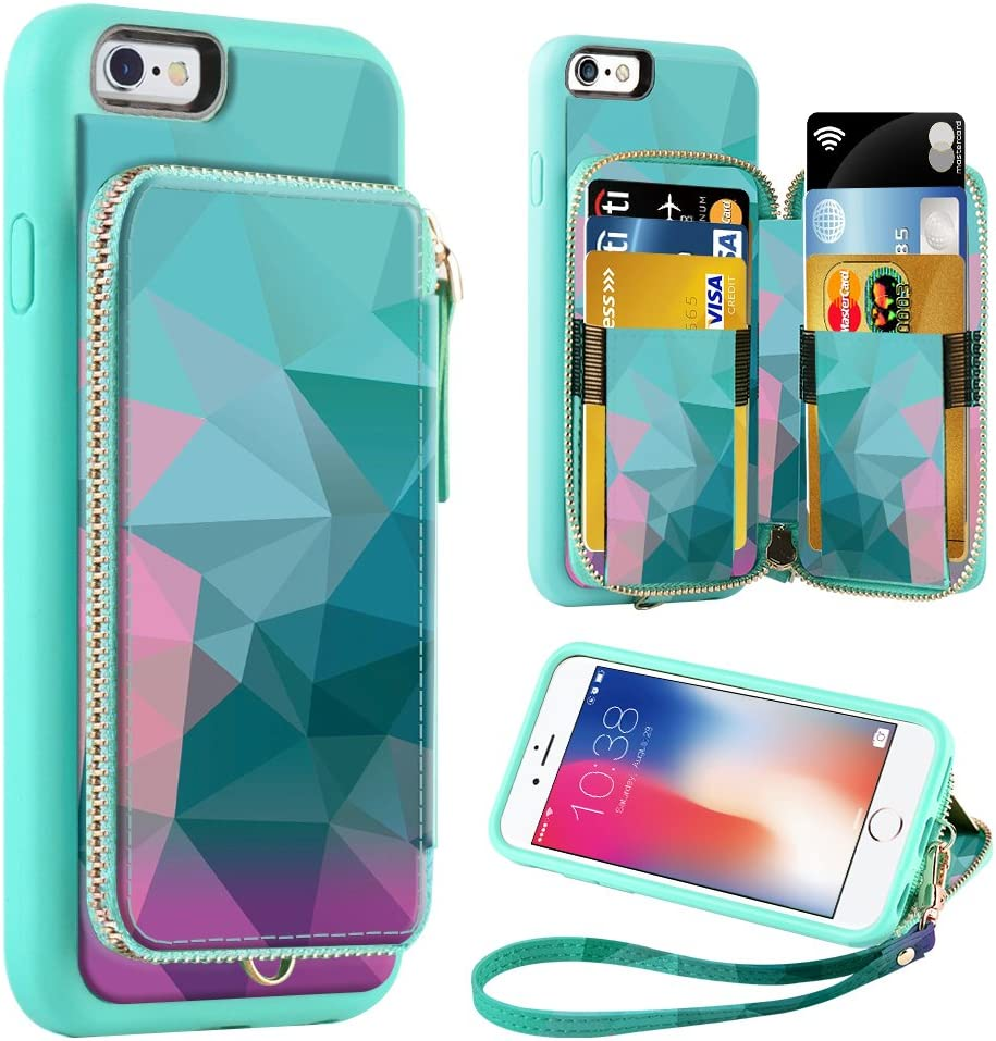 ZVE Wallet Case for Apple iPhone 8 Plus and iPhone 7 Plus, Zipper Wallet Case with Credit Card Holder Slot Handbag Purse Wrist Strap Print Case for Apple iPhone 8/7 Plus 5.5 inch - Diamond