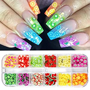 CHANGAR Fruit Nail Art Slices, 3D DIY Nail Art Fimo Slime Supplies Stickers Decoration Colorful Apple Kiwi Fruit Banana Lemon Strawberry Watermelon for DIY Crafts, Nail Art and Cellphone Decoration