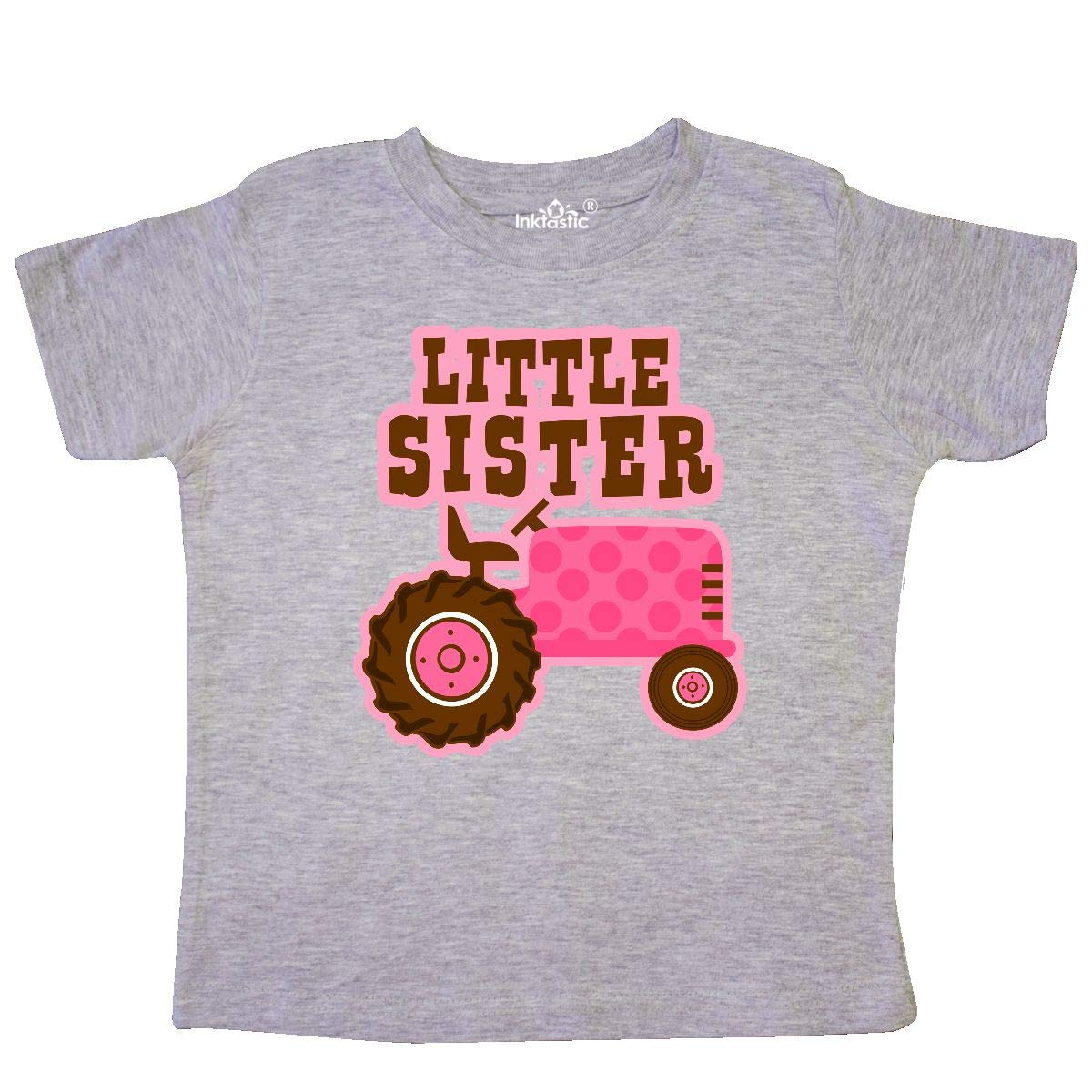 inktastic Pink Tractor Little Sister Toddler T-Shirt