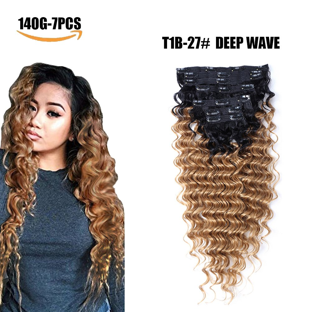 Amazon Clip In Hair Extensions Synthetic Hair Ombre Color