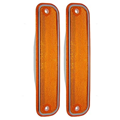 Aftermarket Replacement Driver and Passenger Set Front Signal Side Marker Lights with Chrome Trim Compatible with 1973-1980 C/K Pickup Truck Suburban Blazer Jimmy 6270434: Automotive
