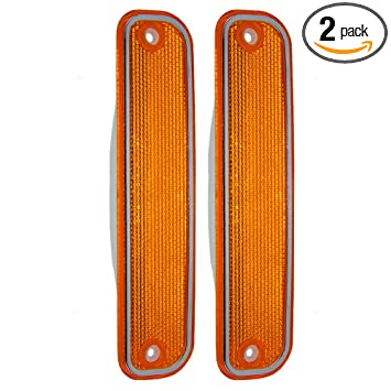 Pair of Front Signal Side Marker Lights Lamps with Chrome Trim Replacement for Chevrolet GMC Pickup Truck SUV 6270434