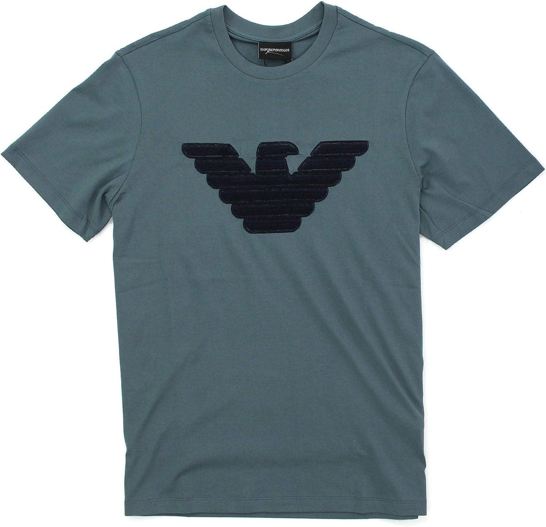 Emporio Armani Viscosa cosida Logo azul camiseta: Amazon.es: Ropa ...