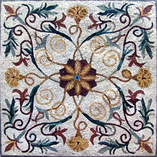 Handmade Geometric Marble Mosaic Stone Art Tile, (Marble Mosaic Art Tile)