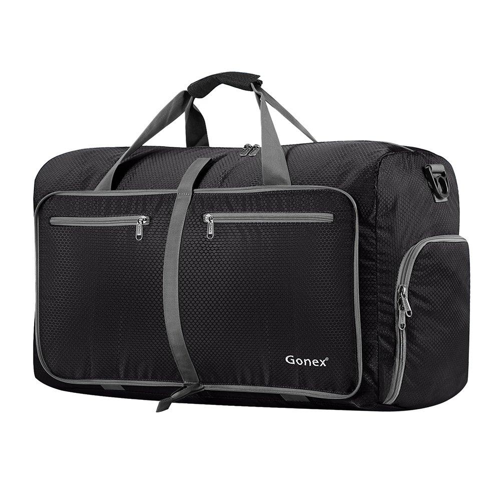 Gonex 60L Foldable Travel Duffel Bag Water & Tear Resistant, Black by Gonex
