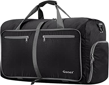 Gonex 60L Foldable Travel Duffel Bag Water & Tear Resistant, Black