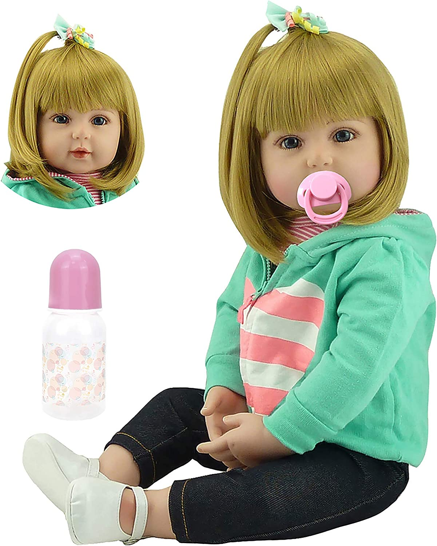 MNMJ Lovely Reborn Baby Girl Doll 18 Inch Real Life Realistic Newborn Dolls, Soft Silicone Blonde Hair Reborns Toddler Princess Girls