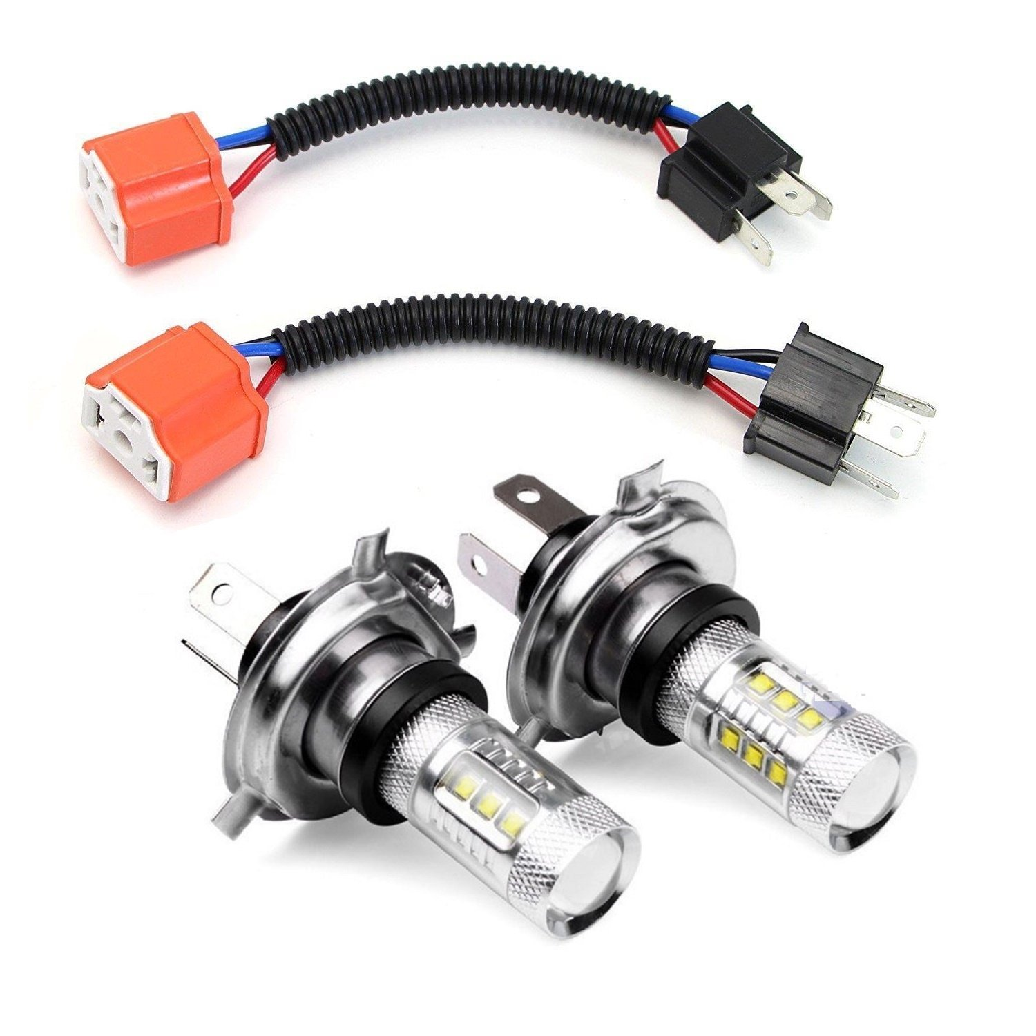 Headlight Driving Fog Lamp Bulb & Ceramic Wiring Harness Sockets For H4  9003 HB2 CREE LED