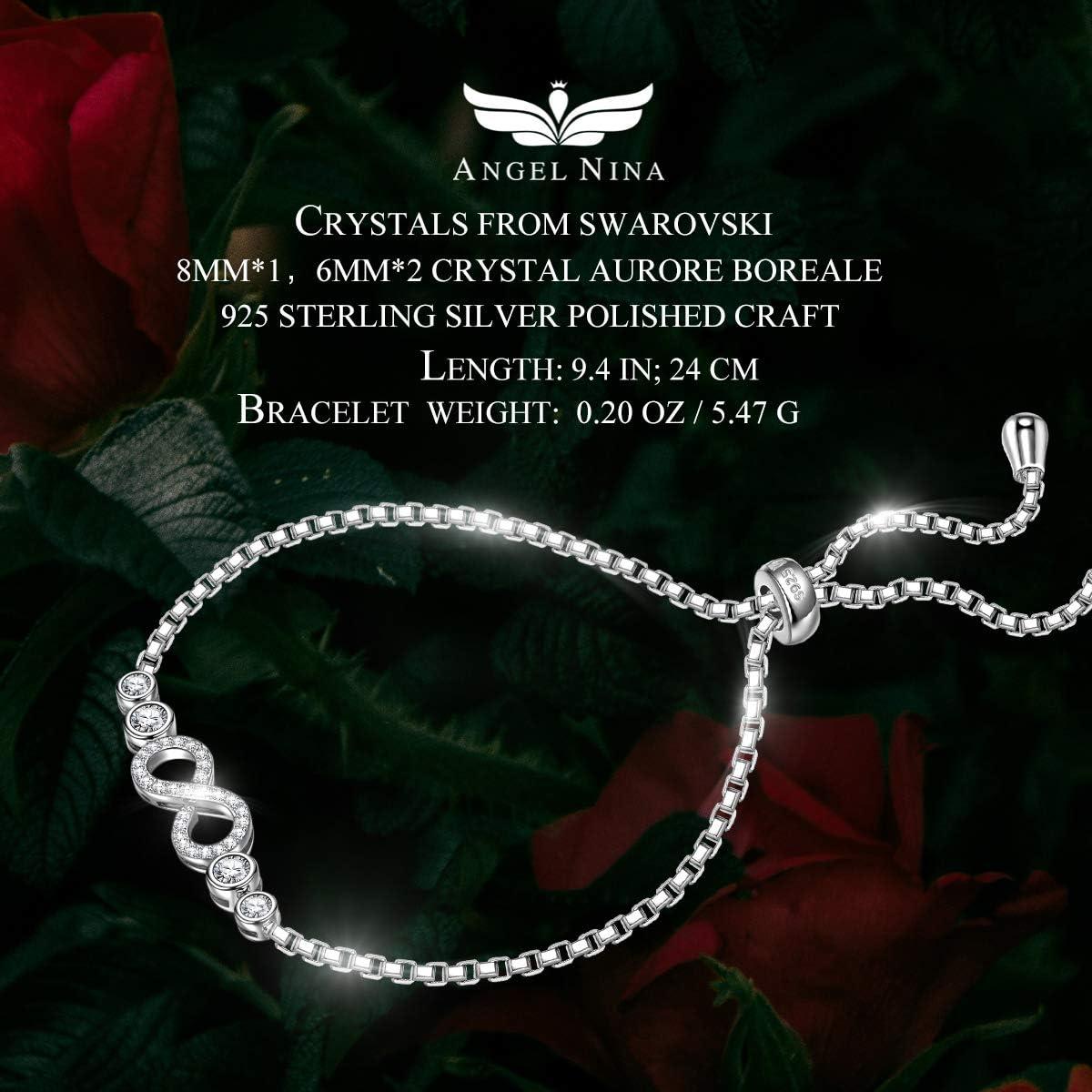 ANGEL NINA Christmas Bracelet Gifts Crystal Bracelet 925 Sterling Silver Swaorvski Bracelets Sparkle Bracelets for Women Her Gifts for Women with Exquisite Packing