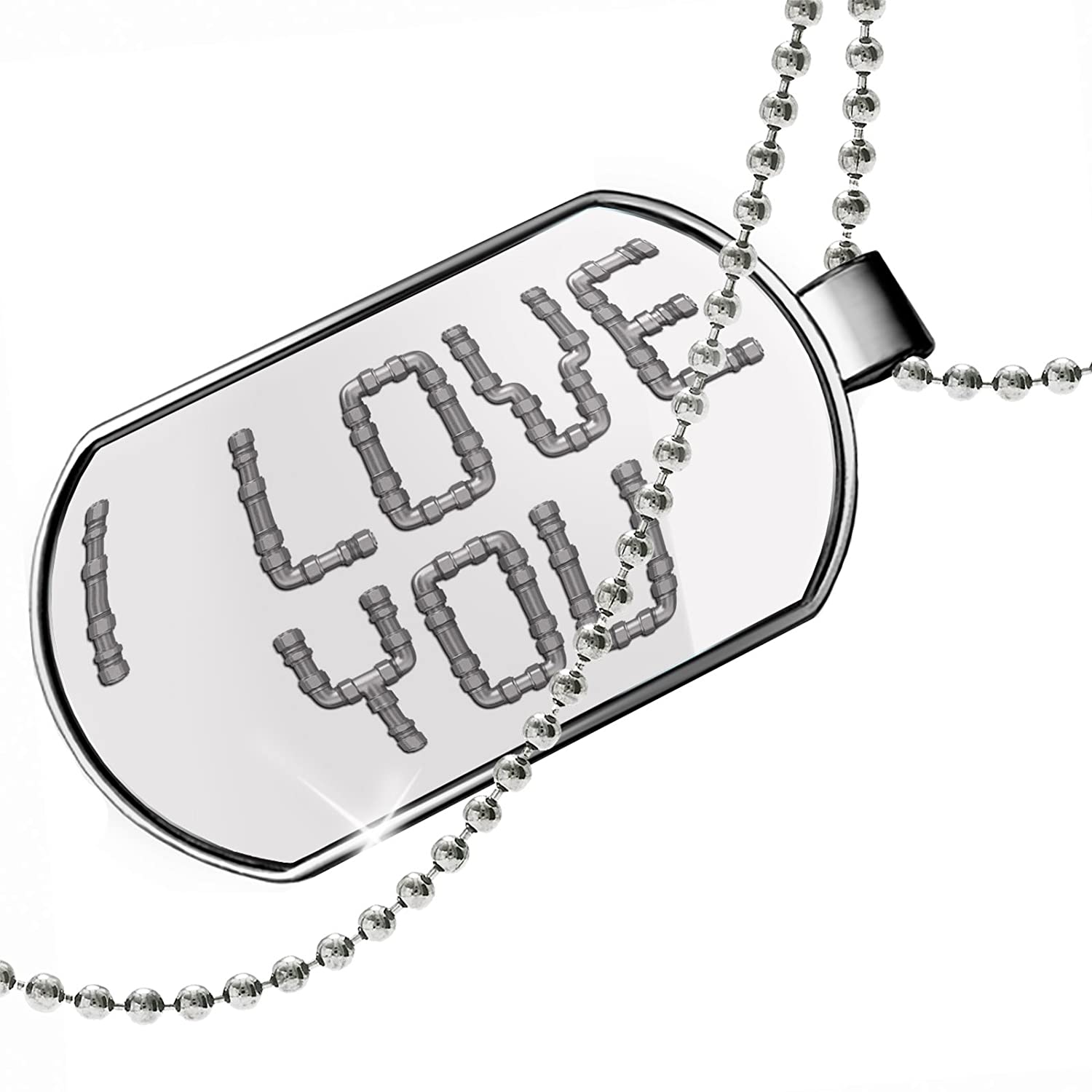 NEONBLOND Personalized Name Engraved I Love You Metal Pluming Pipes Dogtag Necklace
