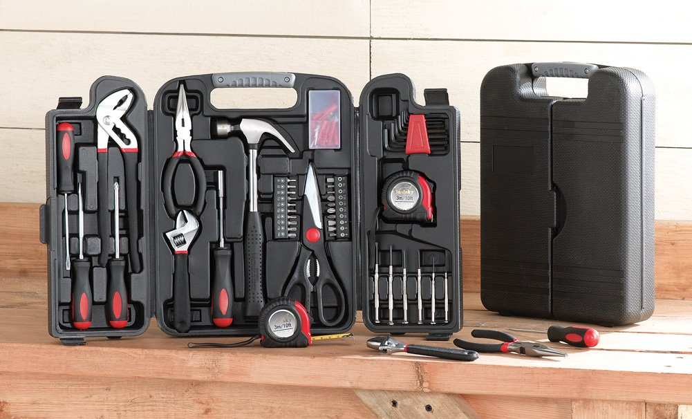 Home Tool Set with Portable Storage Case, Screwdriver Set, Hex Wrench Set, 133 Piece Household Kit