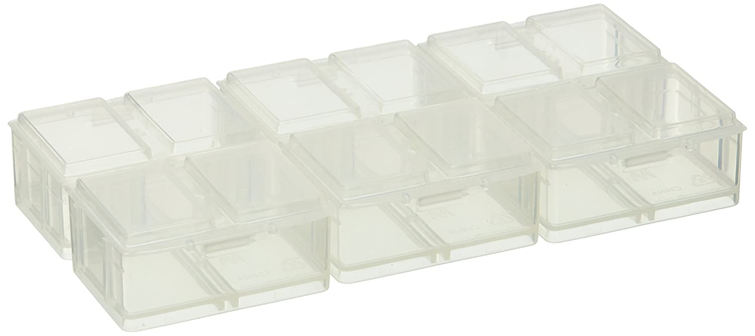 Connect-A-Box 14 pc Assortment from Cottage Mills. Small item storage system that connects and stacks. Perfect for little things like beads, findings and parts. Includes 8 S, 4 M and 2 L. 90042