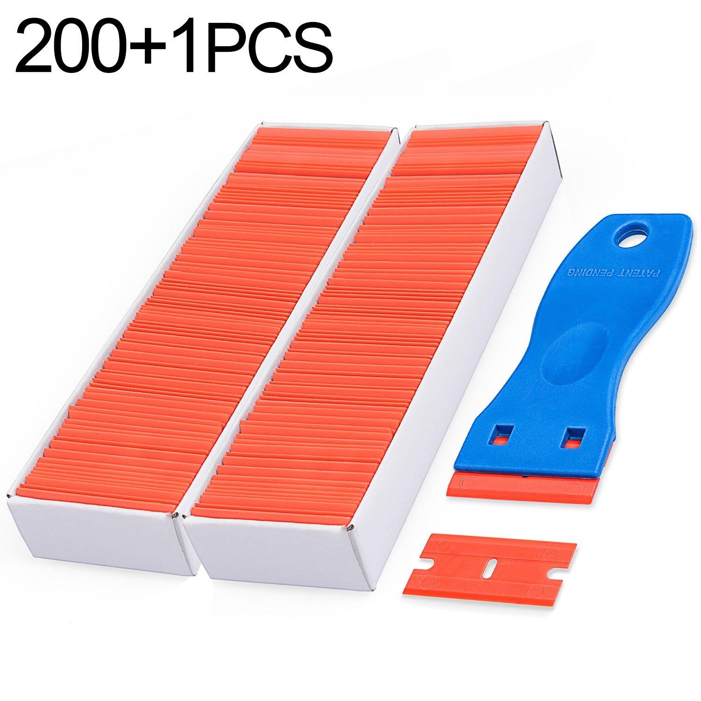 Plastic Razor Double Edged 200PCS 1.5'' and 1PCS Plastic Razor Blade Scraper