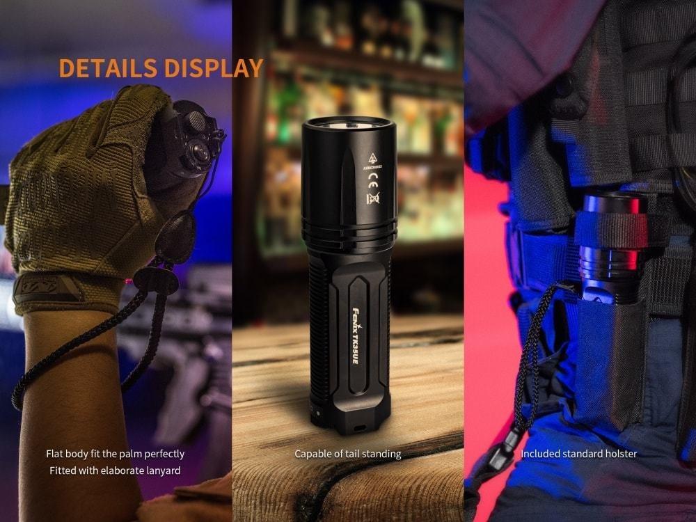 FENIX TK35 Ultimate Edition UE 2000 Lumen LED Tactical Flashlight with 2 X Fenix 18650 Li-ion rechargeable batteries, 4 X EdisonBright CR123A Lithium batteries, Charger bundle by EdisonBright (Image #7)