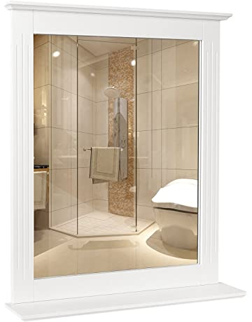 5c025bf03c8 HOMFA Bathroom Wall Mirror Vanity Mirror Makeup Mirror Framed Mirror with  Shelf for Home Multipurpose White
