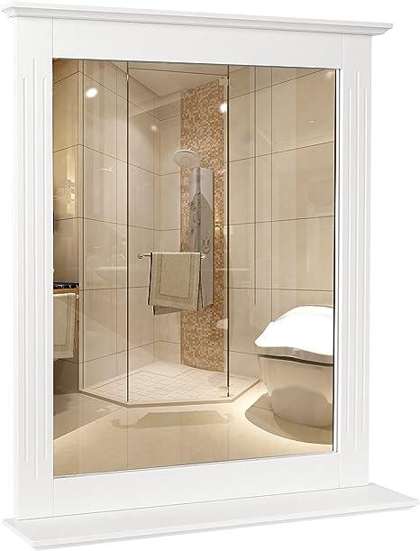 Amazon Com Homfa Wall Mirror Bathroom Vanity Mirror Makeup Mirror Framed Mirror With Shelf Hanging For Home Multipurpose White Home Kitchen