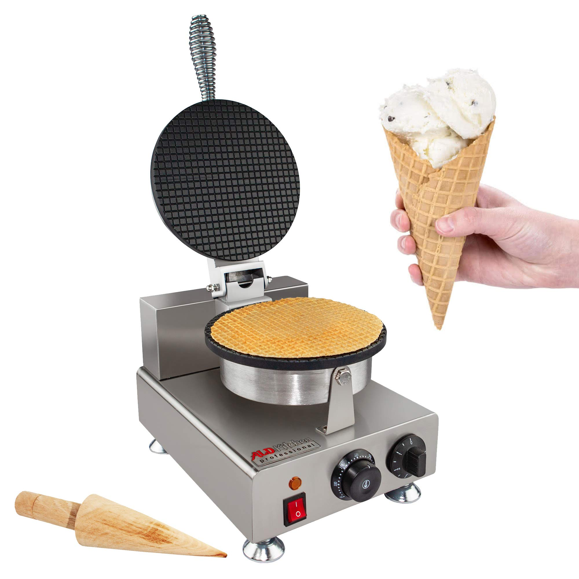 Waffle Maker Professional Rotated Nonstick (Grill/Oven for Cooking Puff, Hong Kong Style, Egg, QQ, Muffin, Cake Eggettes and Belgian Bubble Waffles) (110V with US Plug)