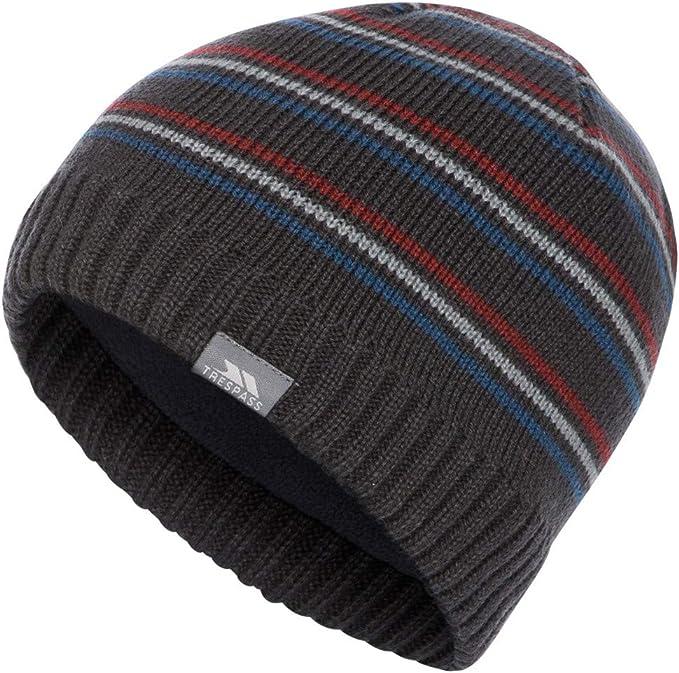 Trespass Mens Ray Stripe Pattern Knitted Winter Beanie Hat