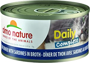 Almo Nature Daily Complete -Tuna Dinner with Sardines in Broth. Grain Free, Adult Cat Canned Wet Food Shredded