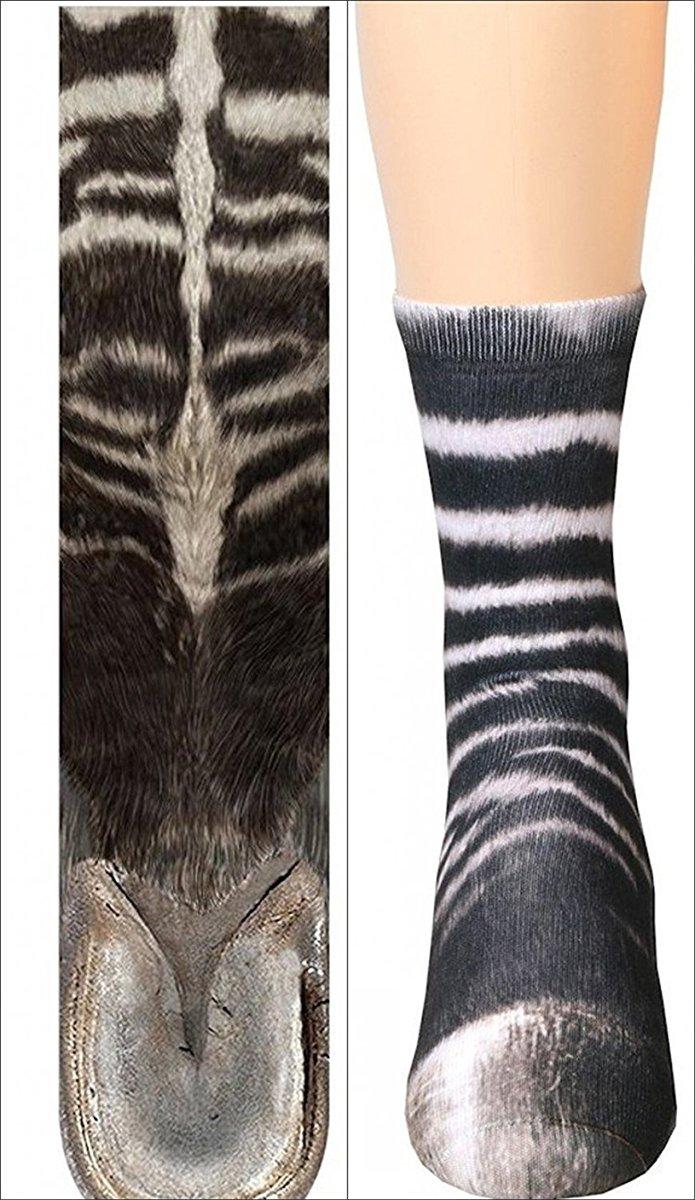HYDZ: Calcetines con Estampado de Huella Animal, 3D HD, elásticos, realistas, para Adultos, niños y niñas, Diseño de Cebra, Talla única: Amazon.es: Hogar