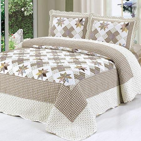CDSITHH Juego de sábanas 100% algodón Acolchado Estampado campestre de 4 Juegos de Juegos de Cama @ Silver_180Cm_Bed: Amazon.es: Hogar
