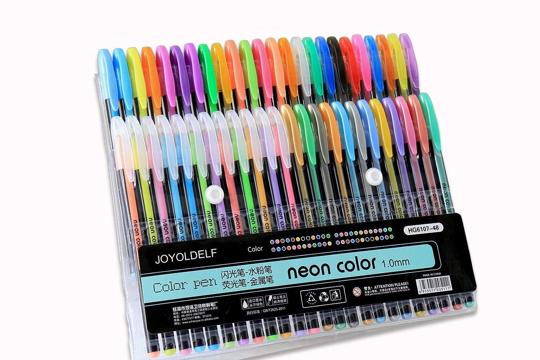 Joyoldelf 48 penne gel a punta fine, colori standard, punta con diametro di 1 mm, perfetti per scrittura, per colorare o per manga (12 fluo + 12 penne ad acqua + 12 neon + 12 metallizzate)