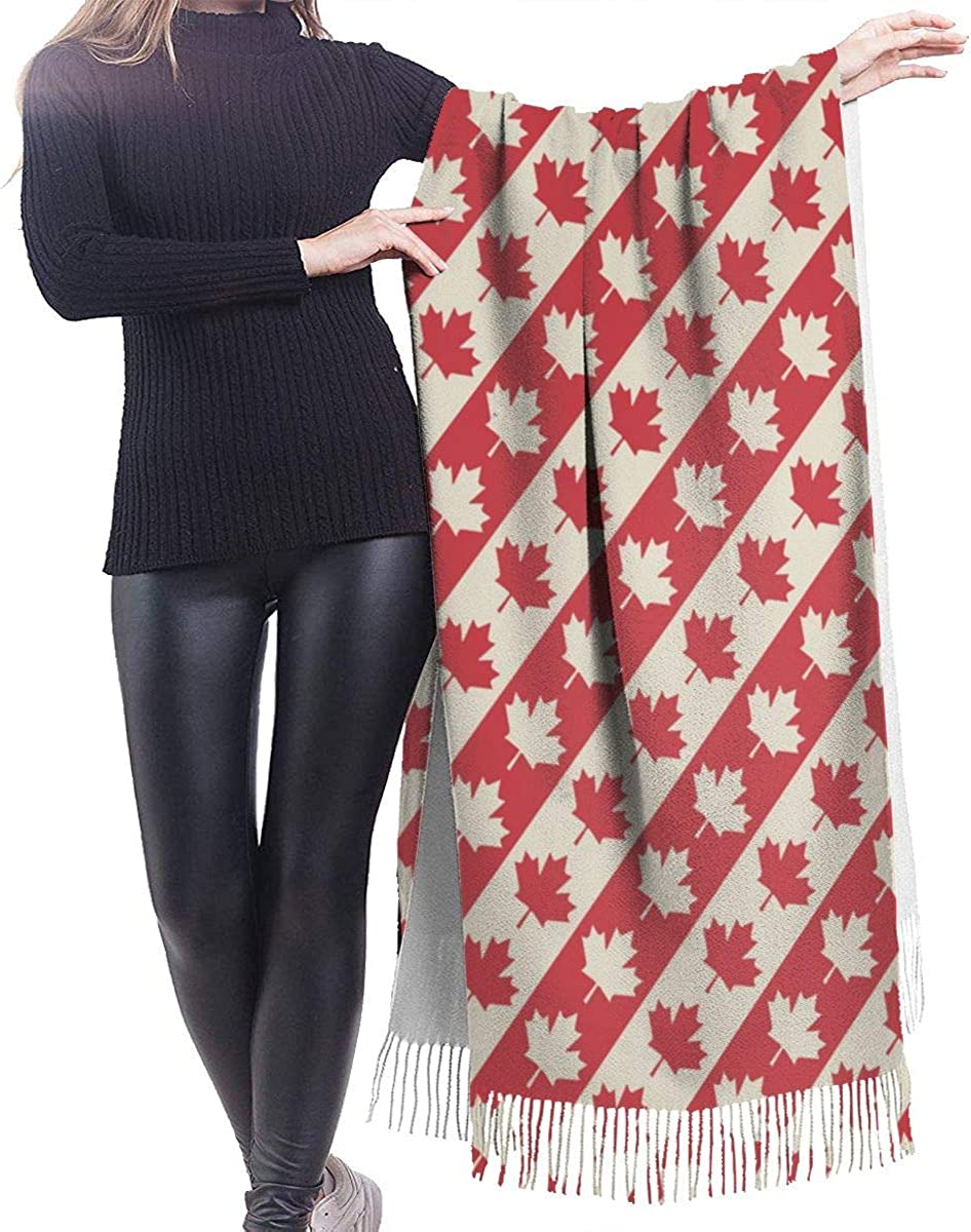 Canadian Flag Cashmere Scarf Shawl Wraps Super Soft Warm Tassel Scarves For Women Office Worker Travel