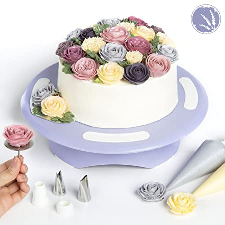 Cake Turntable By LAVANDIN   Rotating Cake Stand   Cake Decorating Supplies    Lavandinu0027s Exclusive Online