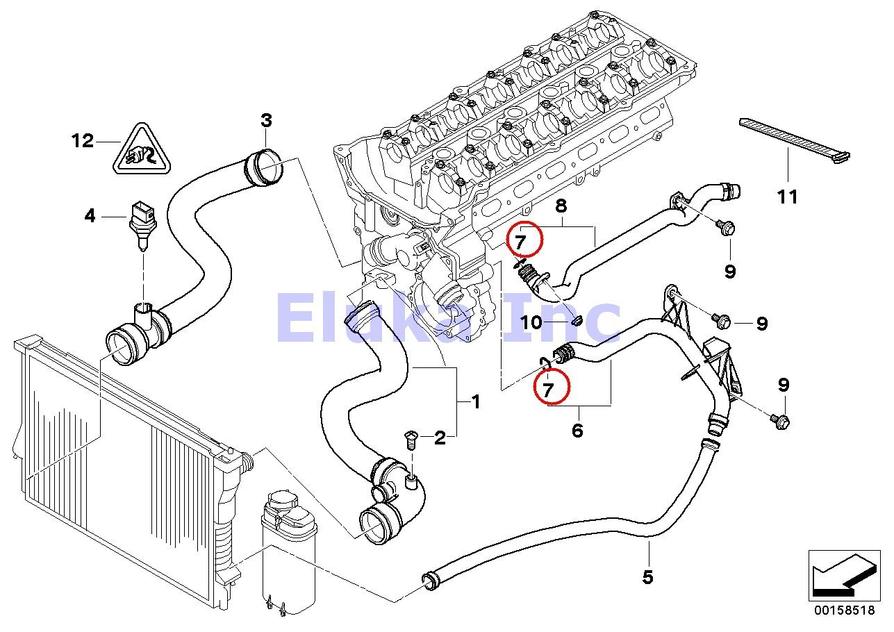 amazon com bmw genuine cooling system coolant hoses o ring water rh amazon com 1999 bmw 323i radiator diagram bmw e46 radiator diagram