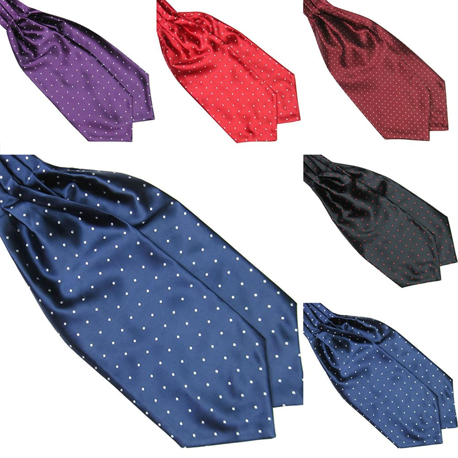 Men's Steampunk Clothing, Costumes, Fashion Froomer Mens Ascot Blend Polka Dot Ties Silk Cravat $4.99 AT vintagedancer.com