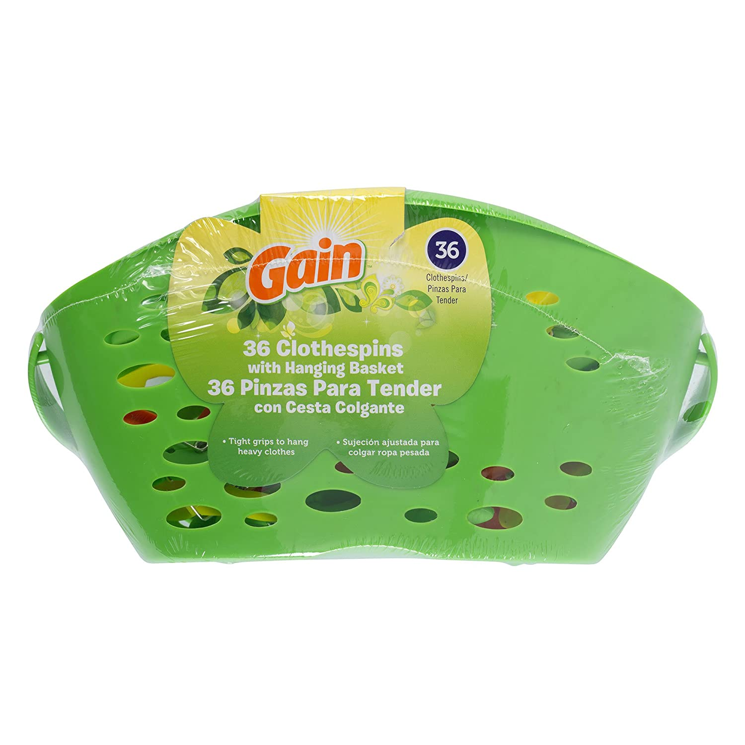 Gain 36 Plastic Clothespins with Hanging Basket