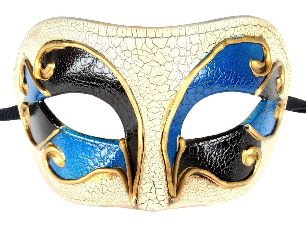 Coolwife Men's Masquerade Mask Vintage Venetian Crack Party Mardi Gras Ball Costume Mask (Blue/Black)