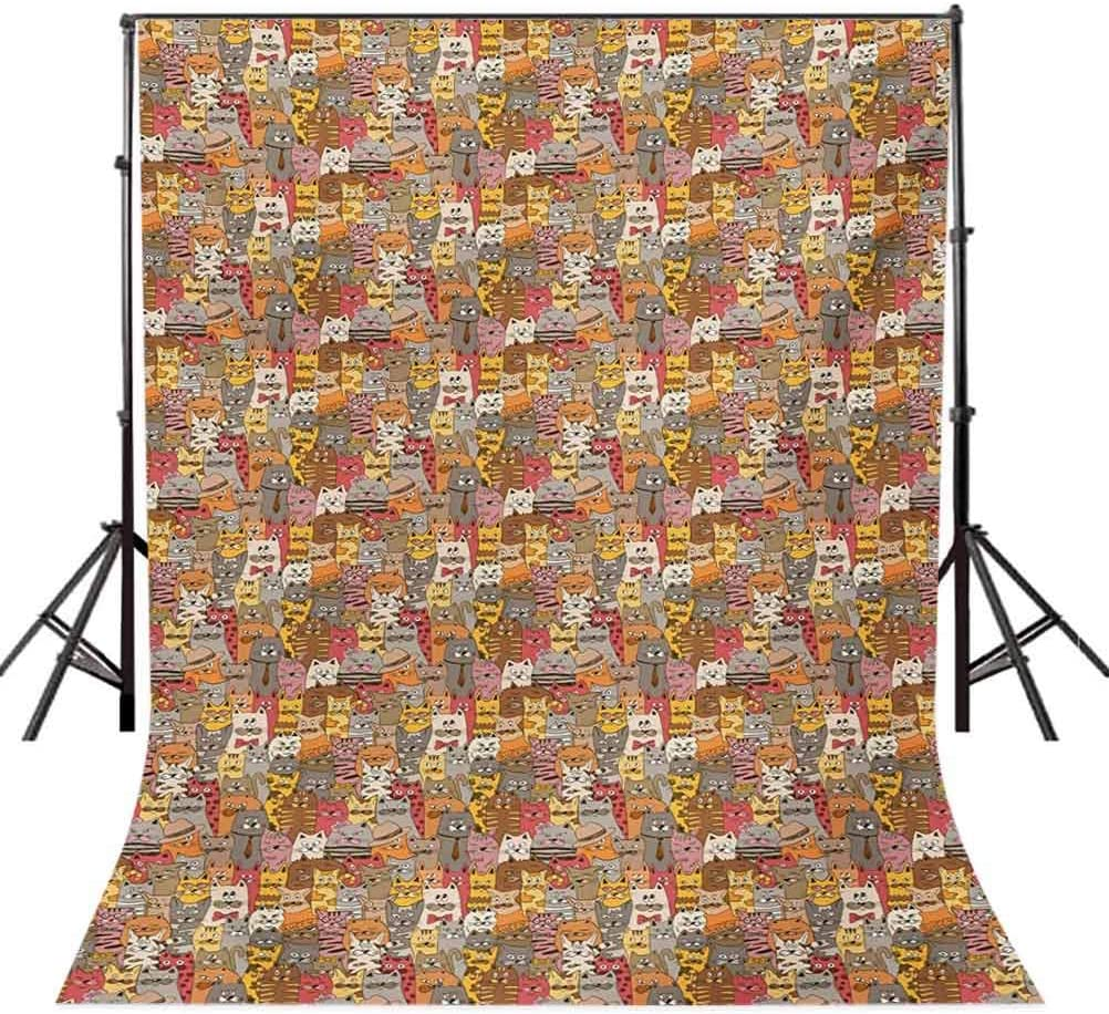 Cat 10x15 FT Photo Backdrops,Psychedelic Colorful Pattern with Funny Kittens Abstract Vintage Mascots Bizarre Comic Background for Baby Birthday Party Wedding Vinyl Studio Props Photography Multicolo