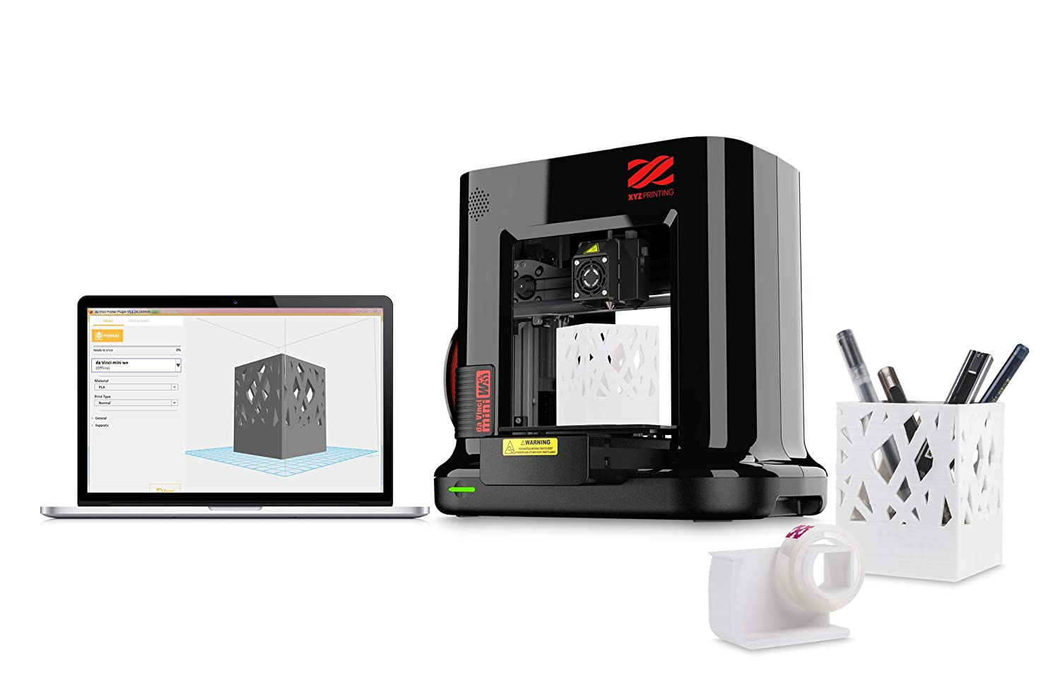 XYZ Printing da Vinci mini w 3D printer (fully assembled), Wireless, FREE  for: £12 300g PLA filament, £15 maintenance tools, modelling software, and