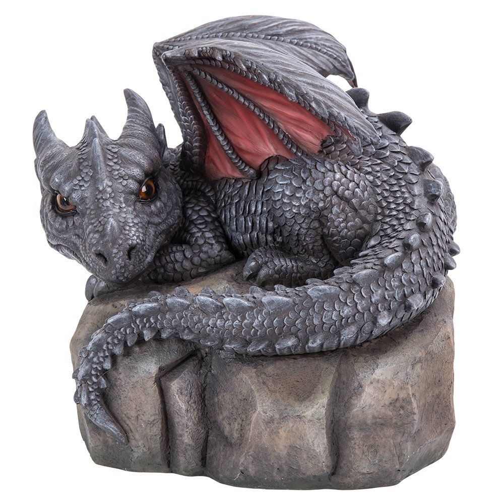 Pacific Giftware Garden Dragon Decorative Accent Sculpture Stone Finish 10 Inch Tall