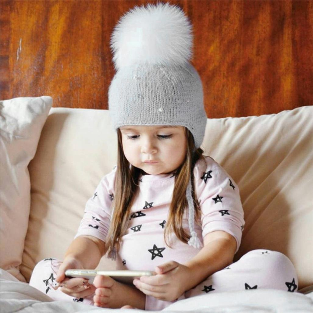 KaiCran Baby Boy Girl Hair Ball Earbud Hat Child Print Knit Hat