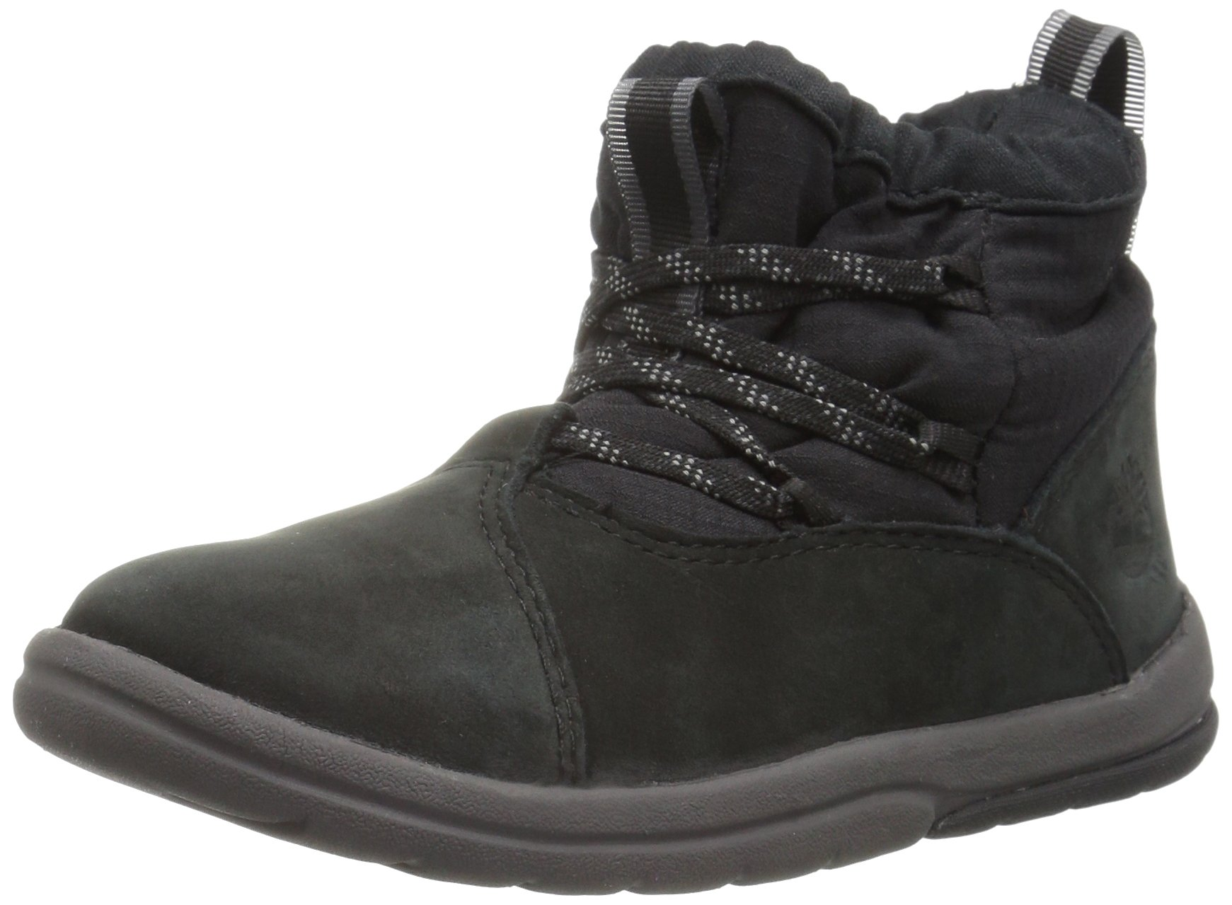 Timberland Unisex Toddle Tracks Warm Fabric Leather Bootie Snow Boot Black Nubuck 12 M US Little Kid