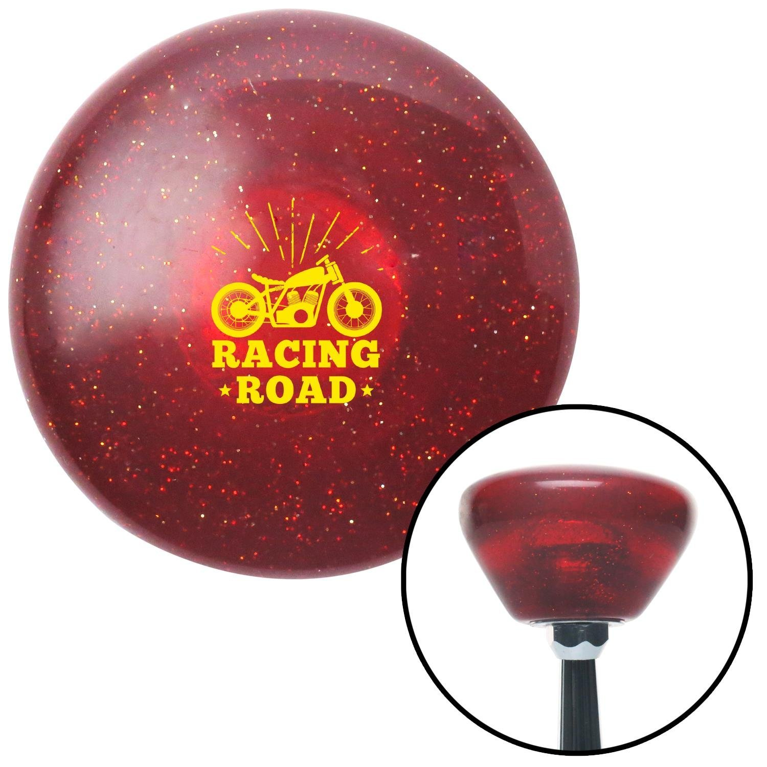 American Shifter 290794 Shift Knob Yellow Racing Road Red Retro Metal Flake with M16 x 1.5 Insert