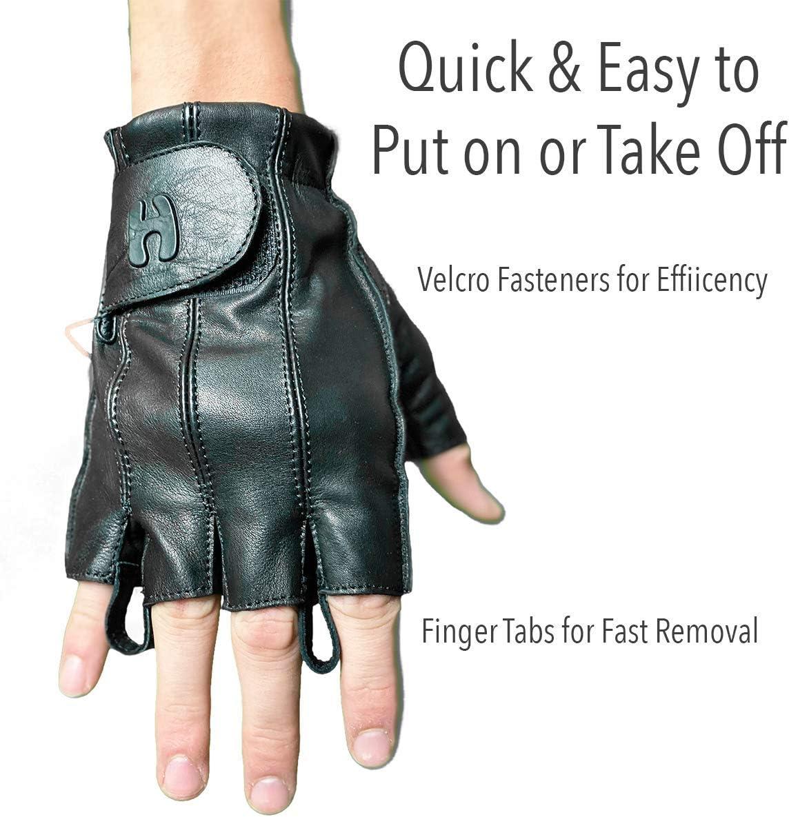 Police Motorcycle Riding Outdoor Hugger Full Finger Fingerless Black Deer Soft Leather Gloves w//Gel Padded Palms Driving