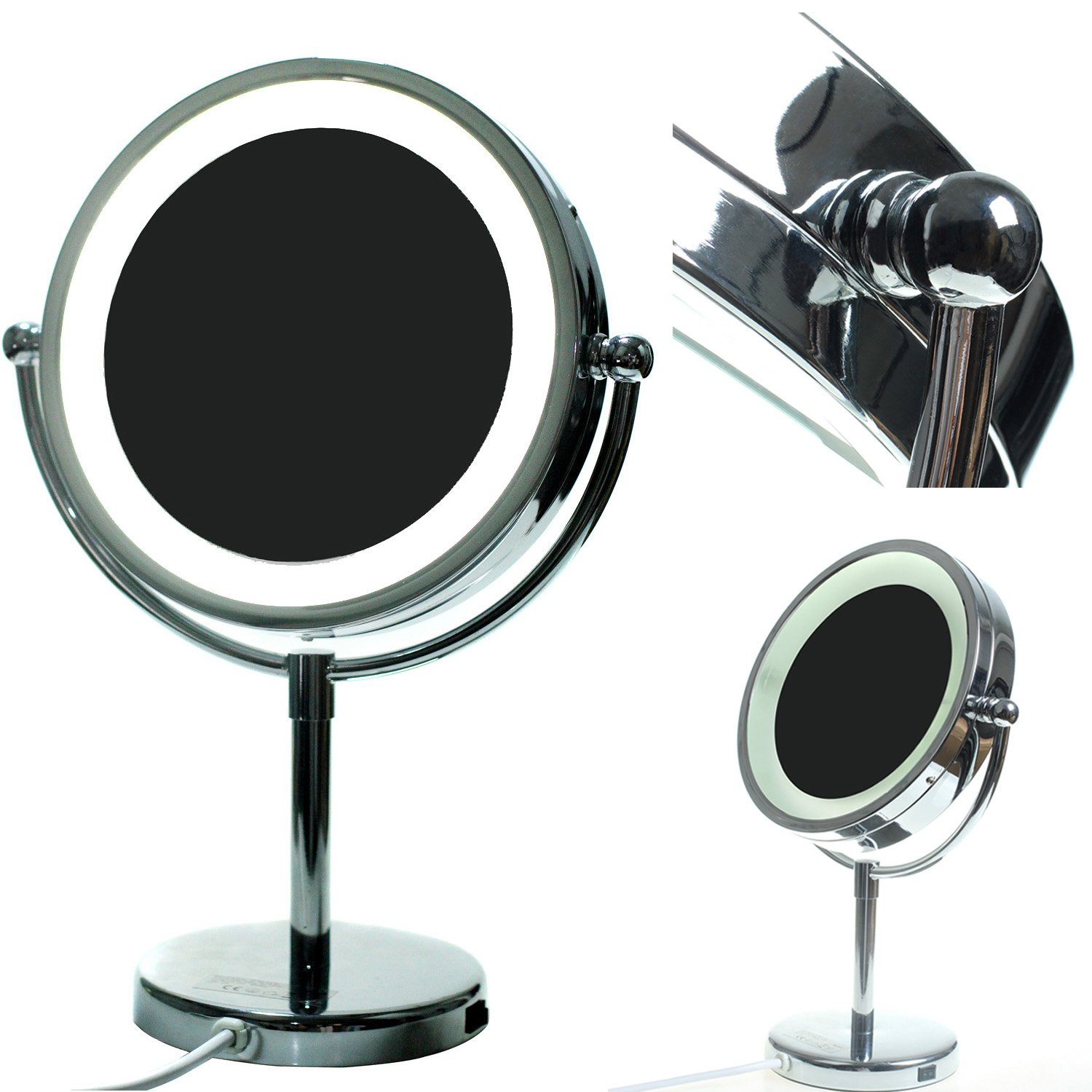 HIMRY® LED Make-up Mirror 8.5 inch 7X Magnification, Stand LED Lighted Mirror with UK Plug, Pedestal Cosmetic Mirror Shaving Mirror, Swivel Bathroom Table Lighting Mirror Chrome finish, KXD3122-7x KXSHOP