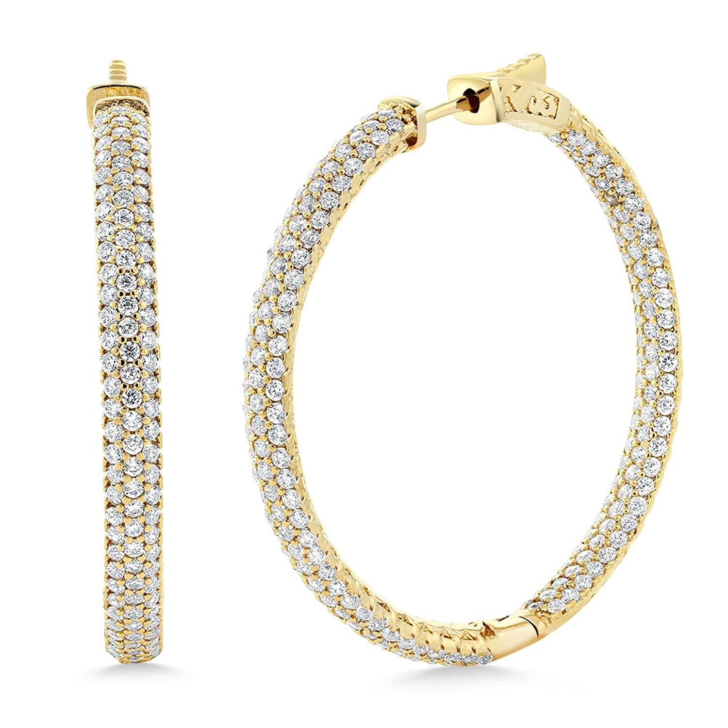 Stunning 18K Yellow Gold Plated CZ Pave Hoop Earrings (35mm = 1.5 Inch)
